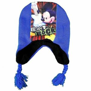 Disney-Mickey-Mouse-Born-To-Rock-Toddler-Boy-039-s-Blue-Hat-amp-Mittens-Set-Sz-2-4T