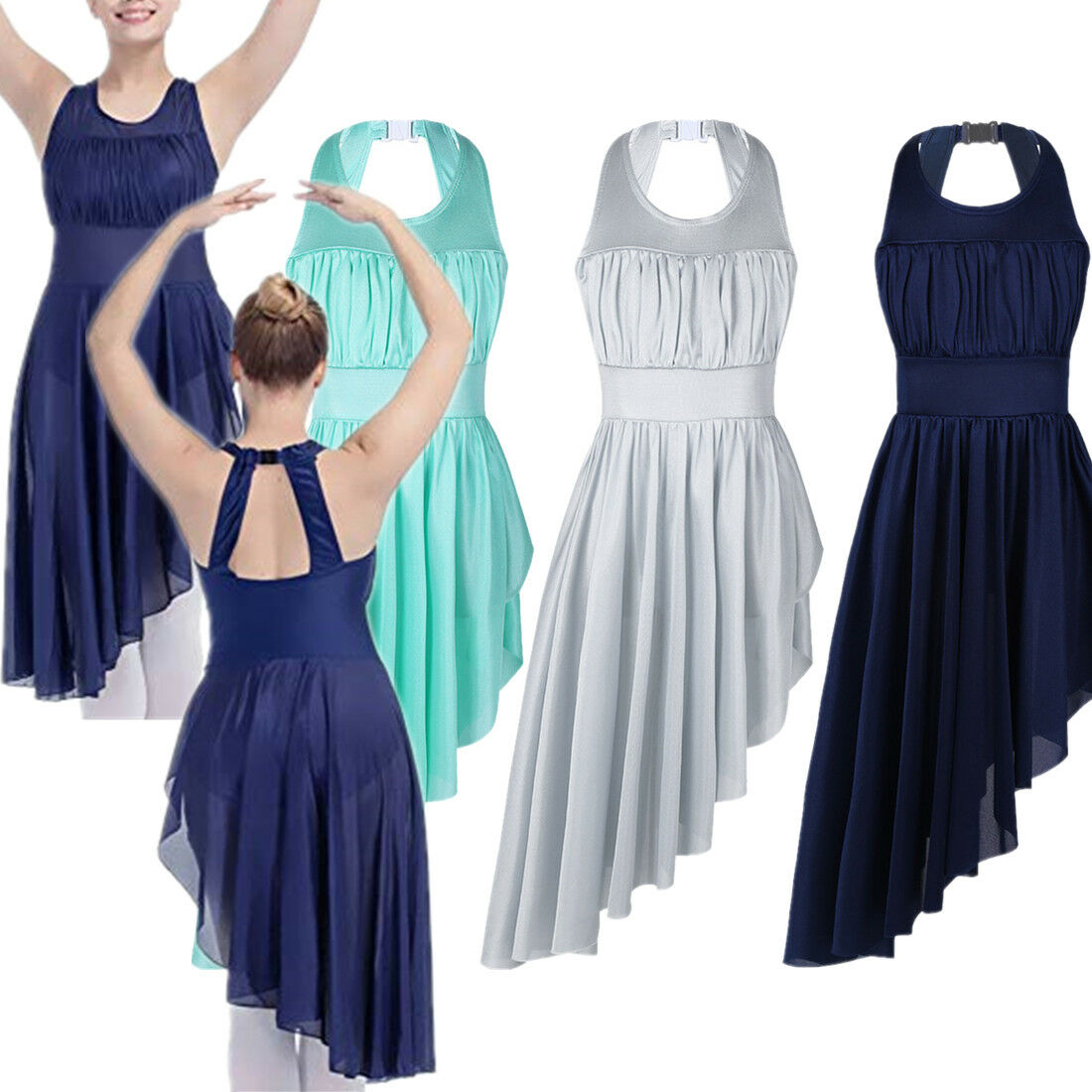 Adult Women Dancewear Costume Mesh Halter Lyrical Ballet Leotard Dance Dress XXL