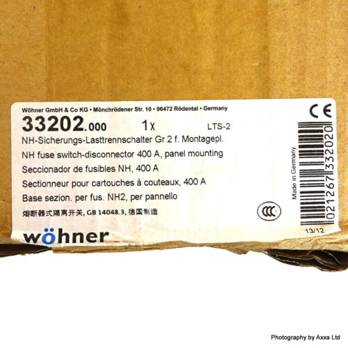 QCB NH2 Fuse Switch Disconnector 33202 Wohner 3P 400A 33202.000