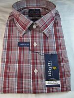 Stafford Easy Care Broadcloth Dress Shirt Long Sleeve Red Plaid Reg. Fit
