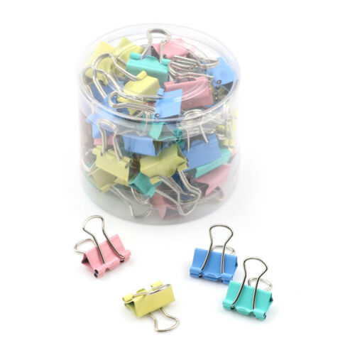 60 Stücke 15mm Bunte Metall Binder Clips Datei Büroklammer Halter Bürobedarf WQ