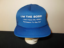 VTG-1980s I'm the Boss with Wifes Permission Wimp funny trucker joke hat sku28