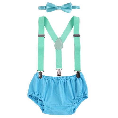 1st Anniversaire Garçon Gâteau Smash Diaper Cover Bow Tie bloomer Bretelles Pantalon Tenues