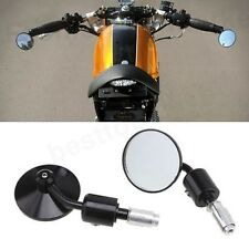 """Black Motorcycle Rearview Mirrors 7/8"""" 1"""" Bar End For Cafe Racer Bobber Cruiser"""