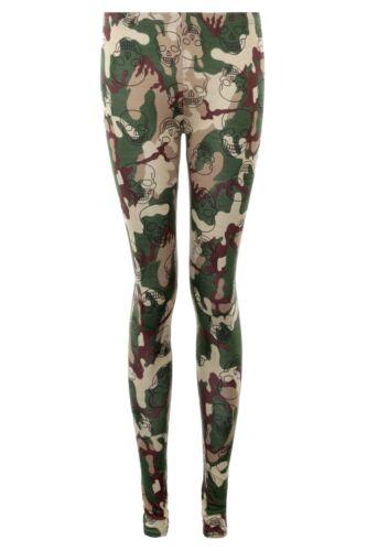 Ladies Camo Camouflage Skull Leopard Army Combat Grunge Casual Leggings