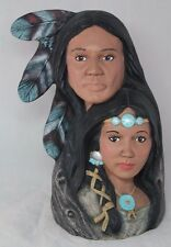 Native American Indian ceramic figurine, hand painted man & woman, Signed JR93