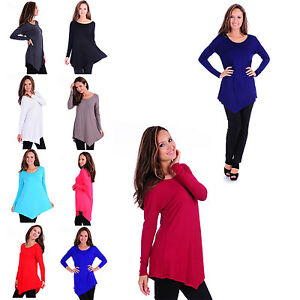 Women-039-s-Rayon-Span-Basic-High-Low-Loose-Fit-Long-Sleeve-Dolman-Tunic-Top-AT1157