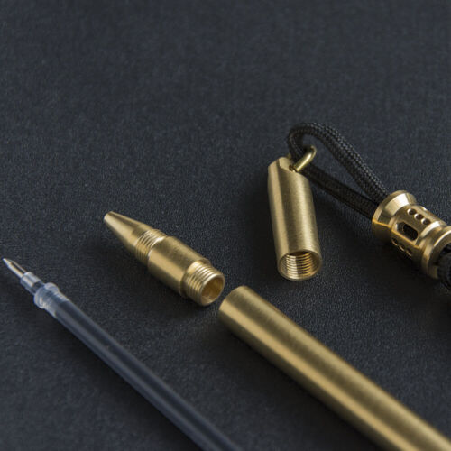 Solid Brass Ballpoint Pen with Paracord Ties Bead EDC Lanyard
