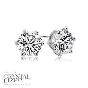 PURE-Swarovski-Elements-Crystal-18-KRGP-White-Gold-Plated-Wedding-Stud-Earrings