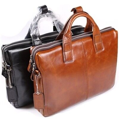 Man Briefcase Bag Man Business Bags Natural Pattern Genuine Cow Leather  BLE561