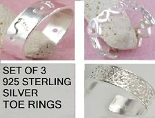 925 STERLING SILVER  PACK 3 TOE RINGS ADJUSTABLE TO SUIT