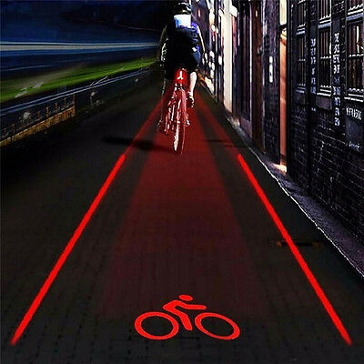 2 Laser 5 LED Rear Bike Bicycle Tail Light Beam Safety Red Lamp Mount Light