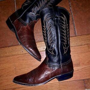 85c02a44c6c Details about Justin Boots Men's 7.5 M Lizard Leather Brown Black Cowboy  Western Vintage