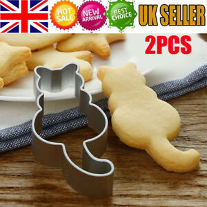 2X-Cat-Shaped-Stainless-Steel-Biscuit-Cookie-Cutter-Cake-Decor-Baking-Mold-Tool
