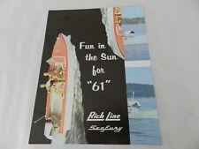 VINTAGE BOAT BROCHURE-1961 RICH LINE BOATS- PONTOON BOAT- VINTAGE BOATING