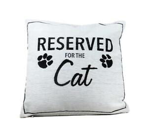 Reserved-for-the-Cat-Black-amp-White-Cushion-with-Inner-amp-Cover-Gift-Pillow-Paws