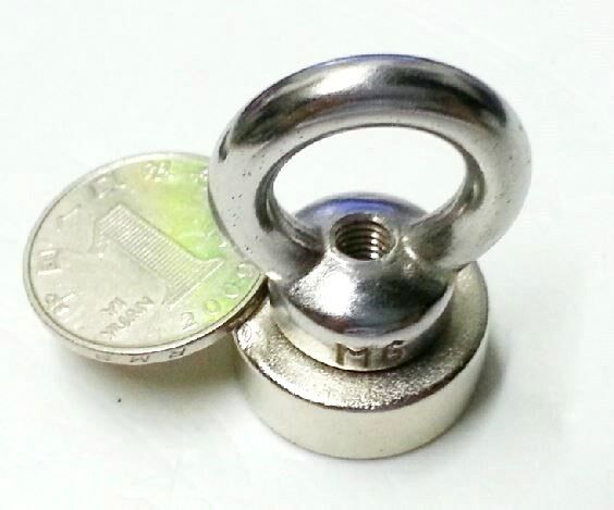 2PCS Eye Bolt Neodymium Hook Magnets - each holds ** 20 lbs **