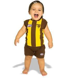 9238cc71525c AFL Toddler Baby Hawthorn Hawks Short Footysuit Unisex Pyjamas