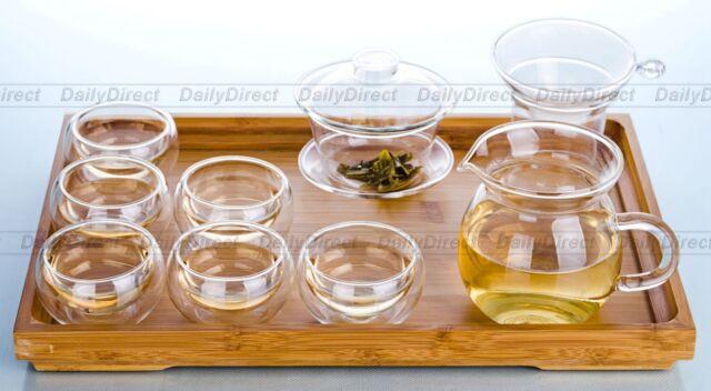 10in1 Gongfu Tea Set-Heat-Resisting Clear Glass Gaiwan+Funnel+Chahai+6*Cups+Tray