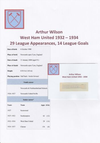 ARTHUR WILSON WEST HAM UTD 19321934 VERY RARE ORIGINAL HAND SIGNED CUTTINGCARD
