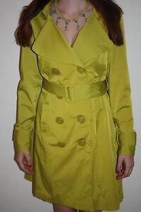 Paris 360 Vertigo Citrongræs Frakke Ny NWT Bæltet Jacket Trench 8Fq11w