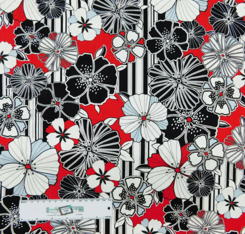 Quilting Patchwork Sewing Fabric BLACK WHITE AND RED FLORAL 50x55cm FQ New