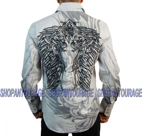 Rebel Spirit Wings LSW111098 New Long Sleeve Fashion Button Down Shirt for Men