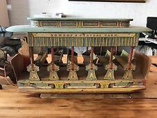 Bowery & Central Park Trolley 19th Century Bliss antique paper litho on wood
