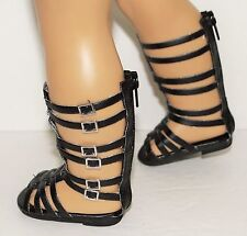 "Doll Sandals Fits 18"" American Girl Doll Black Gladiator Sandals Accessories"