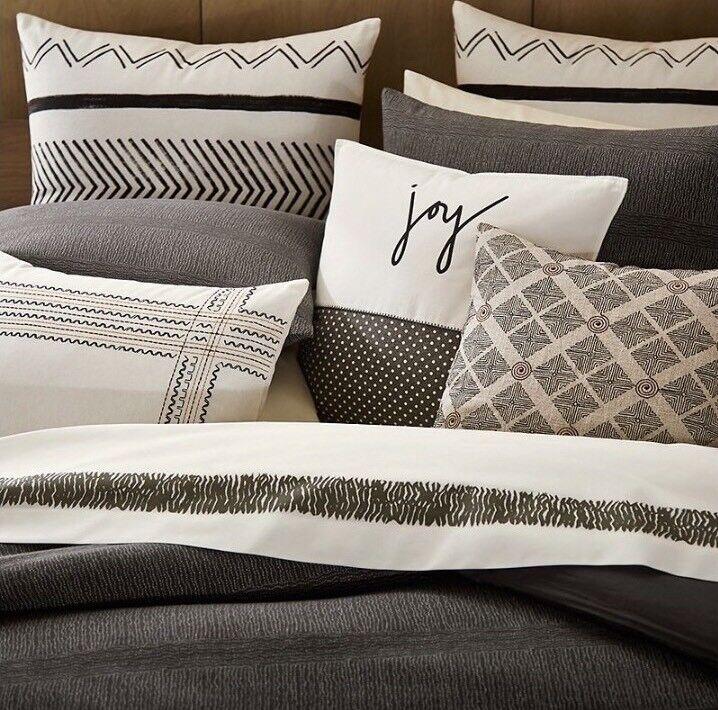 New Ellen ED Degeneres Euro Pillow Shams Set Of 2 Mombasa Collection Linen Ivory