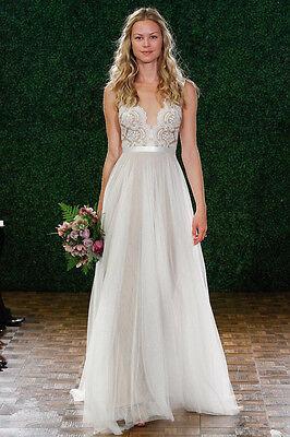 White Ivory Sheer Tulle Wedding Dress Bridal Gown Custom Size 4 6 8 10 12 14 16+