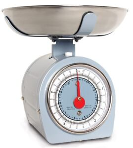 Détails sur Traditionnel Rétro Mécanique Cuisine Balance 5kg Bleu Acier  Inoxydable Bol