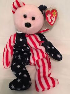 5117a64f1b9 TY Beanie Baby - SPANGLE Red Face Patriotic Bear-Pristine w  Mint ...