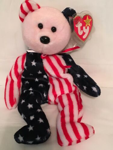SPANGLE Red Face Patriotic Bear-Pristine w// Mint Tags TY Beanie Baby RETIRED