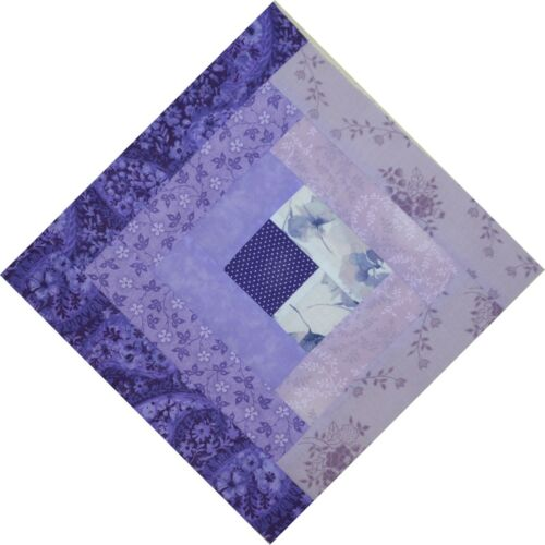 "HANDMADE IN USA 1022C QUILT BLOCKS-Log Cabin in Shades of Purple 11/""Sq"