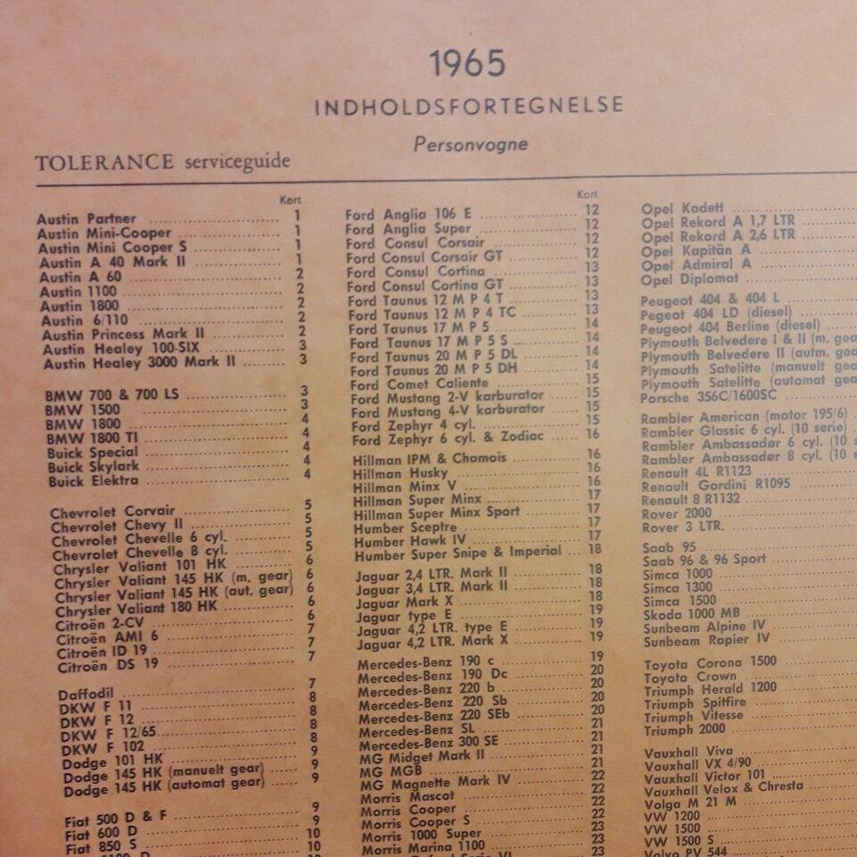 værkstedsbøger , tolerance