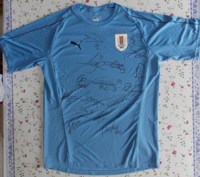 457f3352b URUGUAY GODIN CAVANI STUANI 2018 Soccer Jersey PUMA Signed By Team ORIGINAL