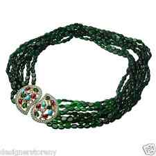 Kenneth Jay Lane 8 row emerald bead gold rhinestones turquoise clasp necklace