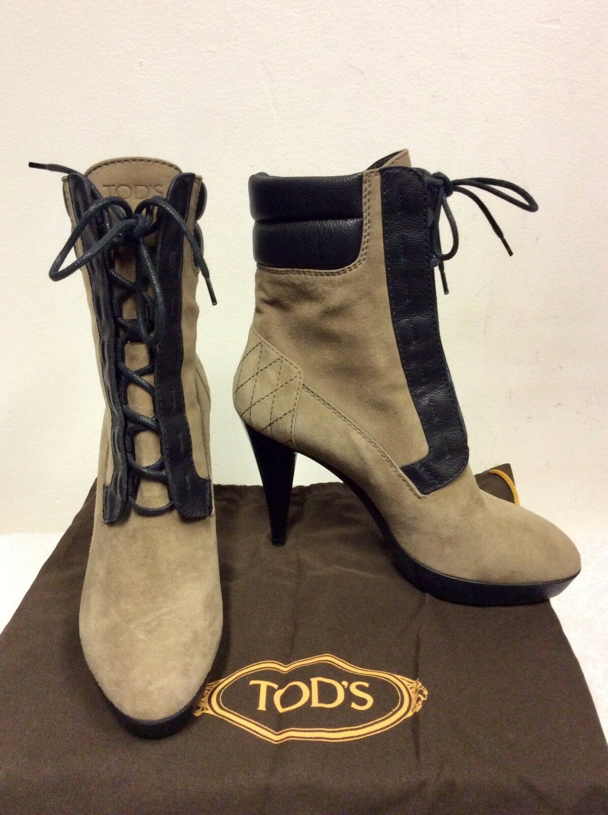 NEW TOD'S BROWN SUEDE & LEATHER TRIM LACE UP ANKLE BOOTS SIZE 3.5 36