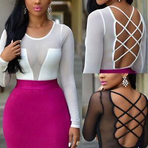 Hot-Fashion-Womens-Summer-Long-Sleeve-Tops-Casual-Blouse-Loose-Bandage-T-Shirt