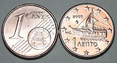 2009 Greece 1 Cent Coin Unc from Roll BU Nice KM#181