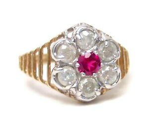 Diamond-Ring-Genuine-1-carat-Yellow-Gold-New-Created-Ruby-accent-Size-7