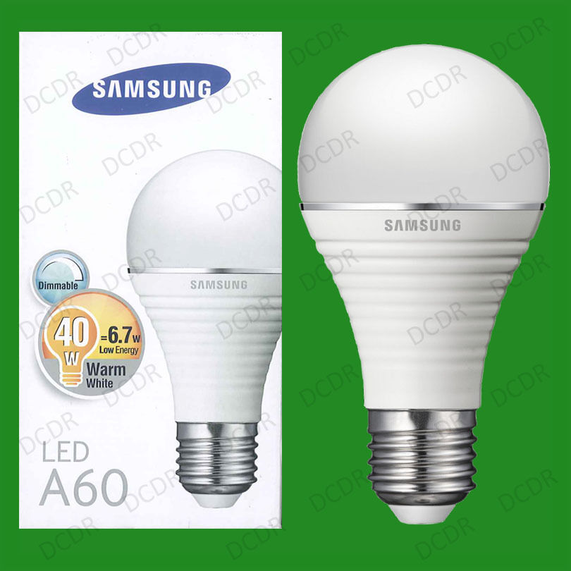 10x 6.7W (=40W) Samsung Dimmable LED Ultra Low Energy GLS Light Bulb ES E27 Lamp