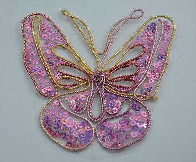 "0510 Fuchsia Pink Bodice Yoke Sequin Beaded Applique Sewing Patch Motif  10/"""