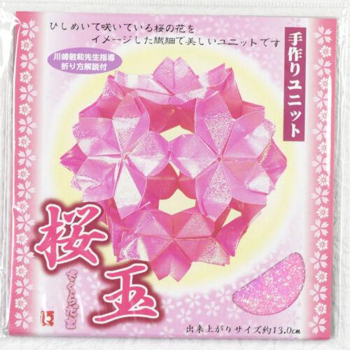 Origami Sakuradama Kirschblüten-Kugel Papier und Anleitung für eine Kugel