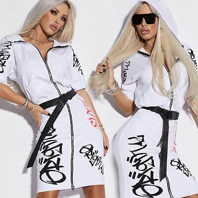 By Alina Damenkleid Minikleid Longshirt Tunika Jongjacke Bodycon-Kleid Weiß XS-M