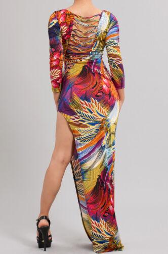 Colorful Paradise Feather Print Long Sleeve High Split Asymmetic Mini Maxi Dress