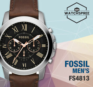 Fossil-Grant-Chronograph-Men-039-s-Leather-Watch-FS4813