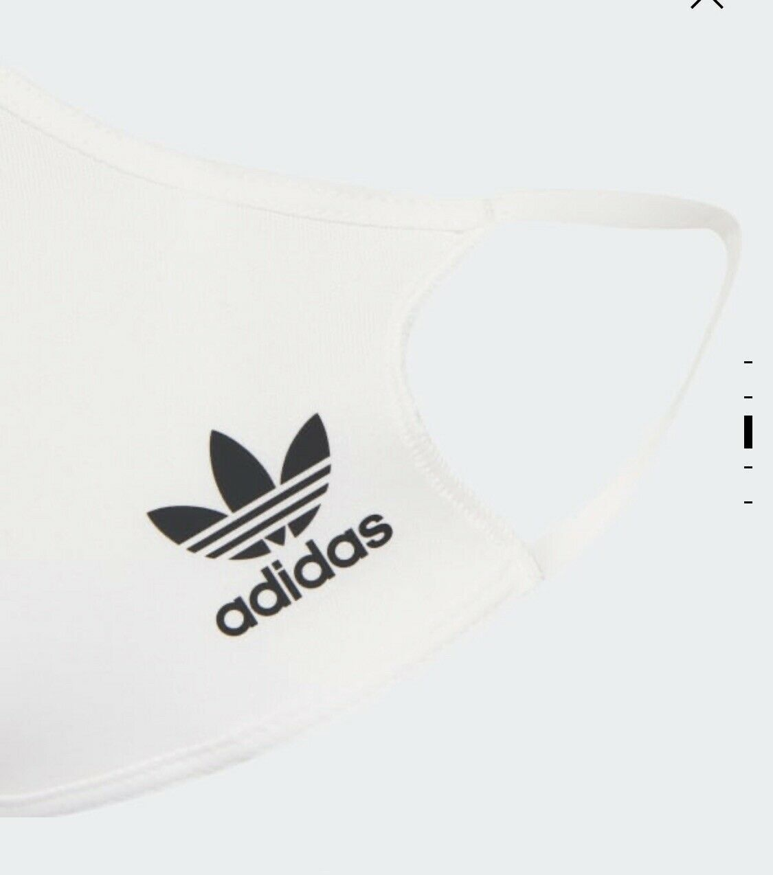 AdidasWHITE Face Mask Cover Reusable Washable Size Small Brand New FreeFastPost