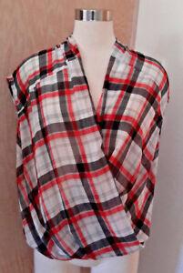 Mango-Suit-Women-039-s-Sleeveless-Red-White-Black-Plaid-Sheer-Roll-Hem-Top-Size-6